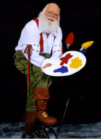 Santa (Leon McBryde) wearing Spear boots in his art studio